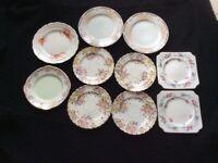 10 very pretty vintage tea plates