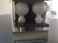 Ball metal curtain pole hold backs