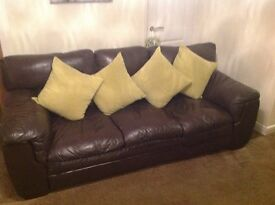 Brown leather 3 seater sofa and large arm chair with foot stool