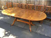Yew Wood Dining Table & Six Chairs