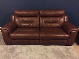DFS Brown Leather and Leather Look 3 Seater Electric Recliner and footstool