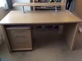Maple desk with separate filing cabinet