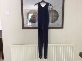 Girls Navy blue dance catsuit size 2(Age 8-12 years)