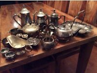 Vintage silver plated coffee pots/ tea pots and other tableware