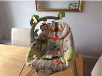 Fisher Price Bouncer suitable from birth to around 6 months. Deep comfortable seat/cosy head hugger
