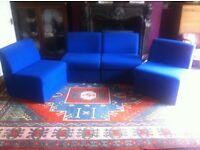 4 Blue Modular Office Chairs