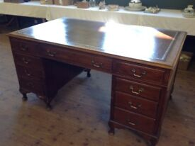 Mahogany 1950's knee hole desk