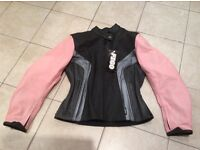 FIGO ladies leather pink and black motorbike jacket with armour size M/10