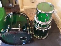 RCI acrylic beer bottle green drum kit with green hard cases