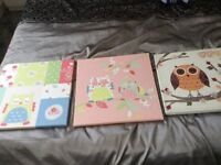 3 owl canvas pictures great for children's bedroom