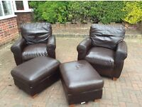 Leather armchairs and footstools, all in ex,McIntyre, could deliver