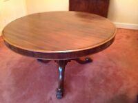 Victorian dining table, mahogany, ornate pedestal, brass castors,