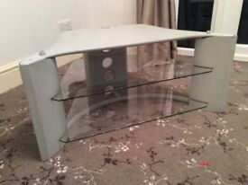 TV Stand with 2 Glass Shelves. Width front 91cm, Width rear 51cm, Height 40cm & Depth 58cm.
