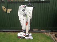 Men's cricket gear,Slazenger Bat including cover,Slazenger Shoes,and many more items