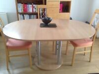 Round beech wood dinining room table