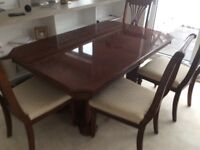 Dining table (extending) + 6 chairs (2 carvers)