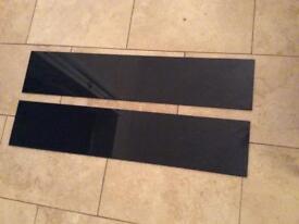 2 x Black Toughened Glass Splashback