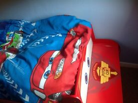 Disney Lightning McQueen Cars 2 bed with mattress and McQueen covers and pillowcase