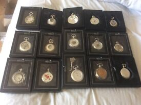 15 silver plated kinetic movement (automatic no battery required) pocket watches