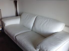 Cream Athena 3-seater,Real Italian Leather.As new,£550 ono..Cost £940,original receipt available