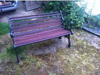 Restored Wrought Iron and Mahogany Garden bench