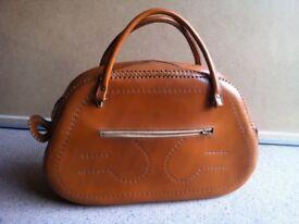 Vintage Real Tan Leather Handbag