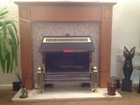 Fire surround with electric fire and real marble hearth
