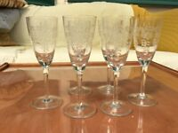 Six elegant etched slim fine glasses, Sherry size or similar