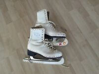 Ice Skates, Size 36, Leather, 'New English', incl blades & blade covers