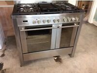 6 ring gas cooker with electric oven and hood