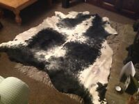 Black and white cow skin rug made by Vimotec