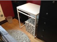 White drop leaf study/small kitchen table, from IKEA, h74cm,w60cm,d48cm