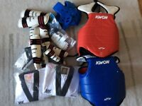 TAEKWONDO BODY ARMOUR / PROTECTIVE EQUIPMENT BUNDLE SIZE S/M CHILD, ALSO X2 BLACK BELT SUITS