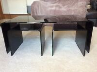 Next black glass large coffee table with 2 small underneath