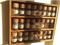 Vintage Cole & Mason spice rack with 24 glass jars