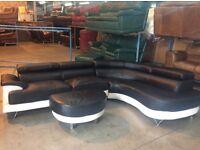 Black/white corner sofa & stool