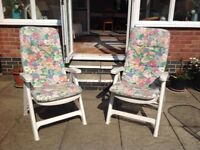 2 Garden Chairs, plus fitted cushions, reclining/fold-up.