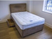 Small Double Divan Bed with 2 drawers and Sealy Matress