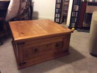 Coffee table, rustic with large drawer, could do with a rub down picture shows