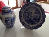 Spode Ginger Jar and Fluted Plate