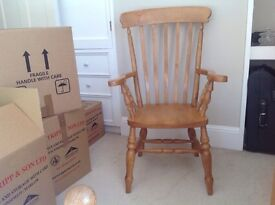 Pair of pine dining room carver chairs.