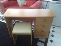 Teak effect dressing table and stool. 108cm length , 40cm depth, 73cm height