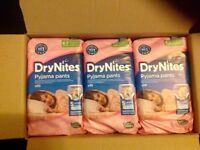 DRY NITES HUGGIES PYJAMA PANTS FOR GIRLS 4-7 (30 in a box)