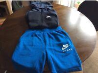 Boys age 12/13 Nike Air black & blue hoodie & blue Nike Air shorts