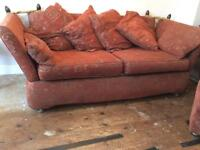 Three seater settee, side chair and pouffe