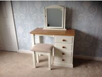 Dressing table with solid oak top, stool and mirror