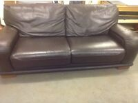 Brown leather sofa 3&2 piece c/w foot stool