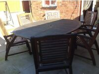 Large wooden patio table and chairs