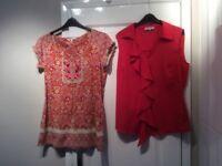 2 John Rocha/Per Una Red Tops Size 14