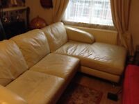 Corner leather sofa 2 piece , sits 4